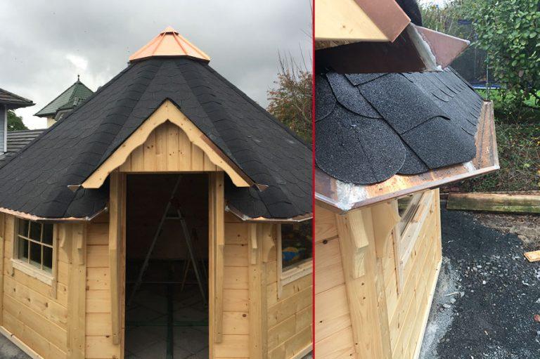 Gartenloggia mit selbst gebauter Dachkrone