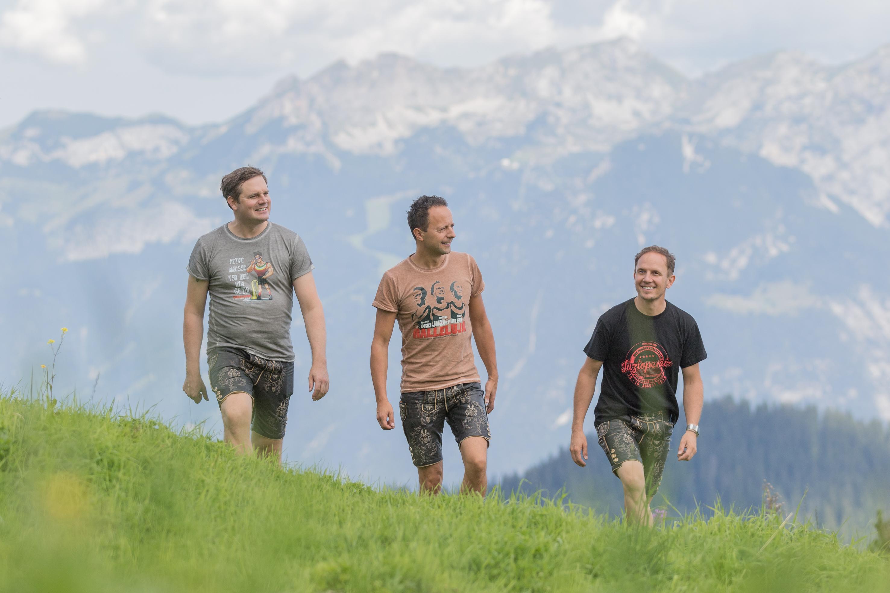 Beim Murtal Sommer Open Air: Die jungen Zillertaler Michael, Markus und Daniel von Die jungen Zillertaler am Berg, Fan-Wanderung beim JUZIopenair 2018