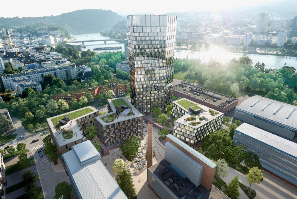 Spektakuläreres Projekt in Linz: Das neue QUADRILL in der Tabakfabrik Linz wird von der Kufsteiner Bodner-Gruppe errichtet. Der neue QUADRILL-