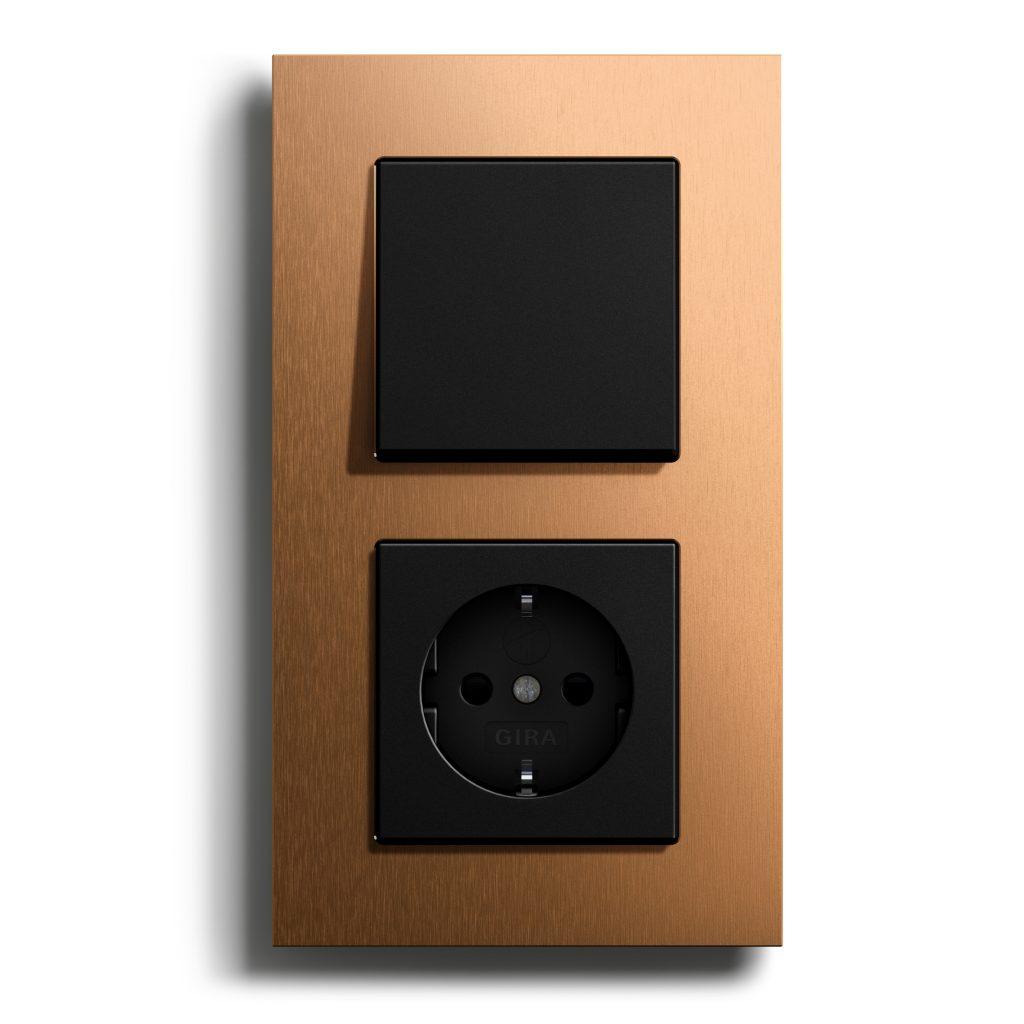 Gira Esprit Bronze (PVD) Kombi Bronze-Schwarzmatt