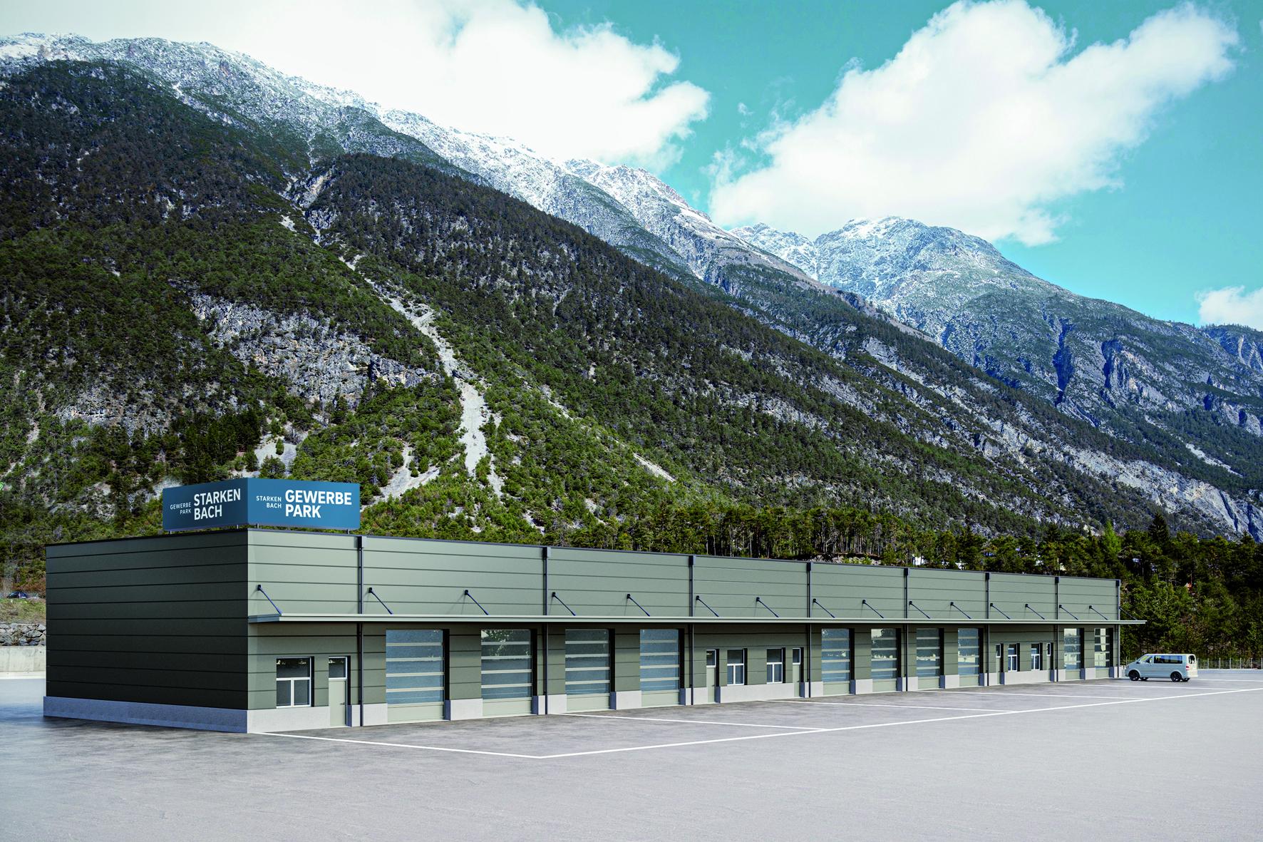 Bild zeigt Gewerbepark Starkenbach (Visualisierung), der von der BODNER Gruppe errichtet wird