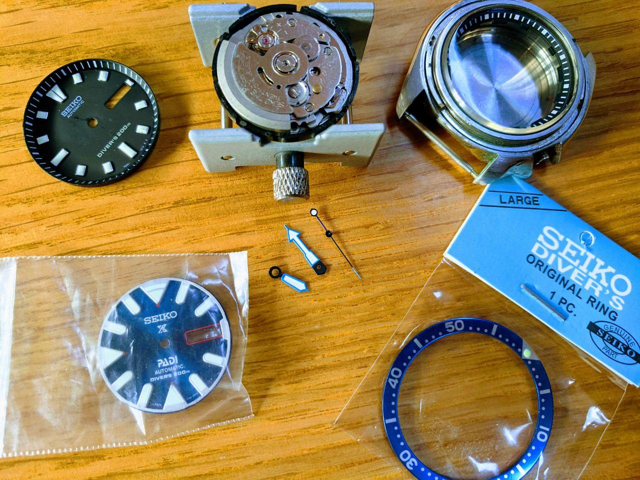 Seiko SKX mod - Components for Seiko modifications. Dial, Chapter ring, Movement Case, Crystal retail Bezel insert