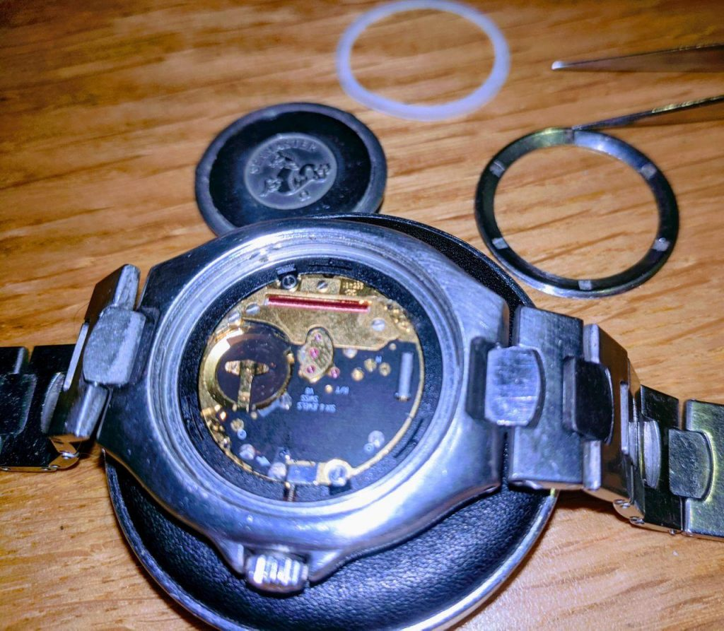 Omega Seamaster repair in the UK This photo features a Seamaster pre-bond model,  quartz battery change by Wellingtime UK