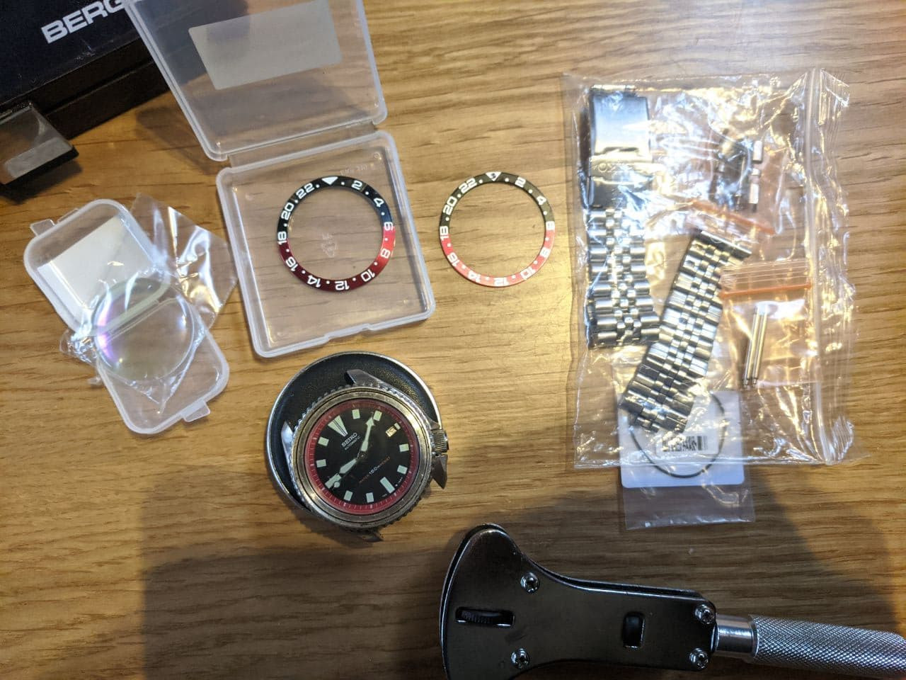 Watch service UK - Seiko 7002 for movement service, domed sapphire crystal replacement , new bezel insert GMT Coke