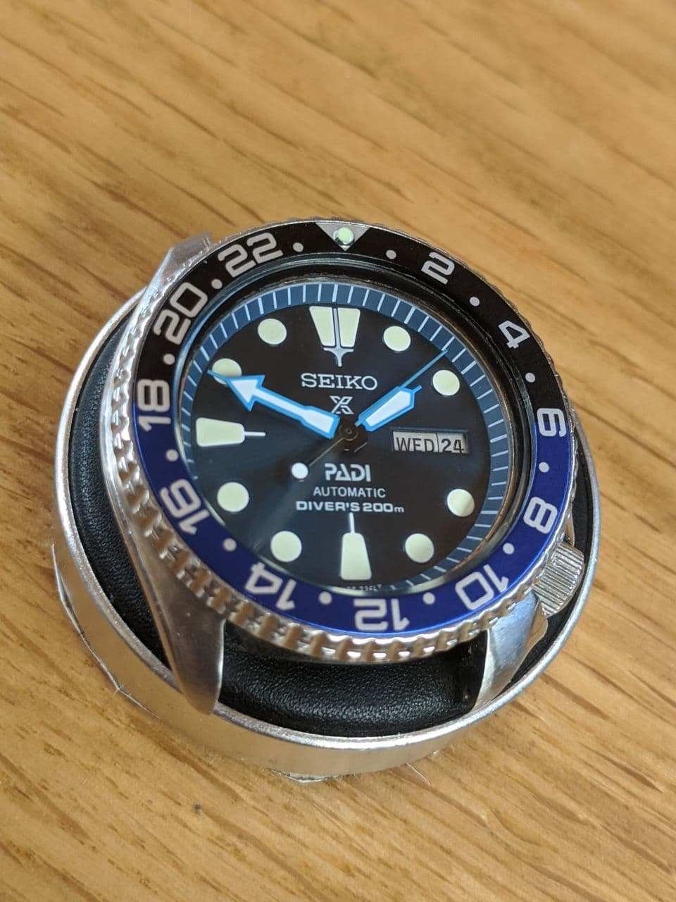 Seiko 6309 Mod - Vintage seiko Mod - displayed on a watchmakers cushion, the watch has the batman bezel insert and blue dial hands and chapter ring