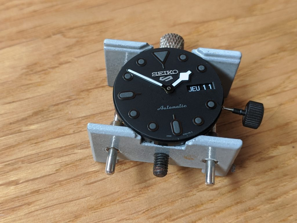 Seiko SRPD79 Movement Dial and Hands - All Held in a movement holder  Modified Hour and minute hand, the second hand is not fitted to the seiko 4R36 movement