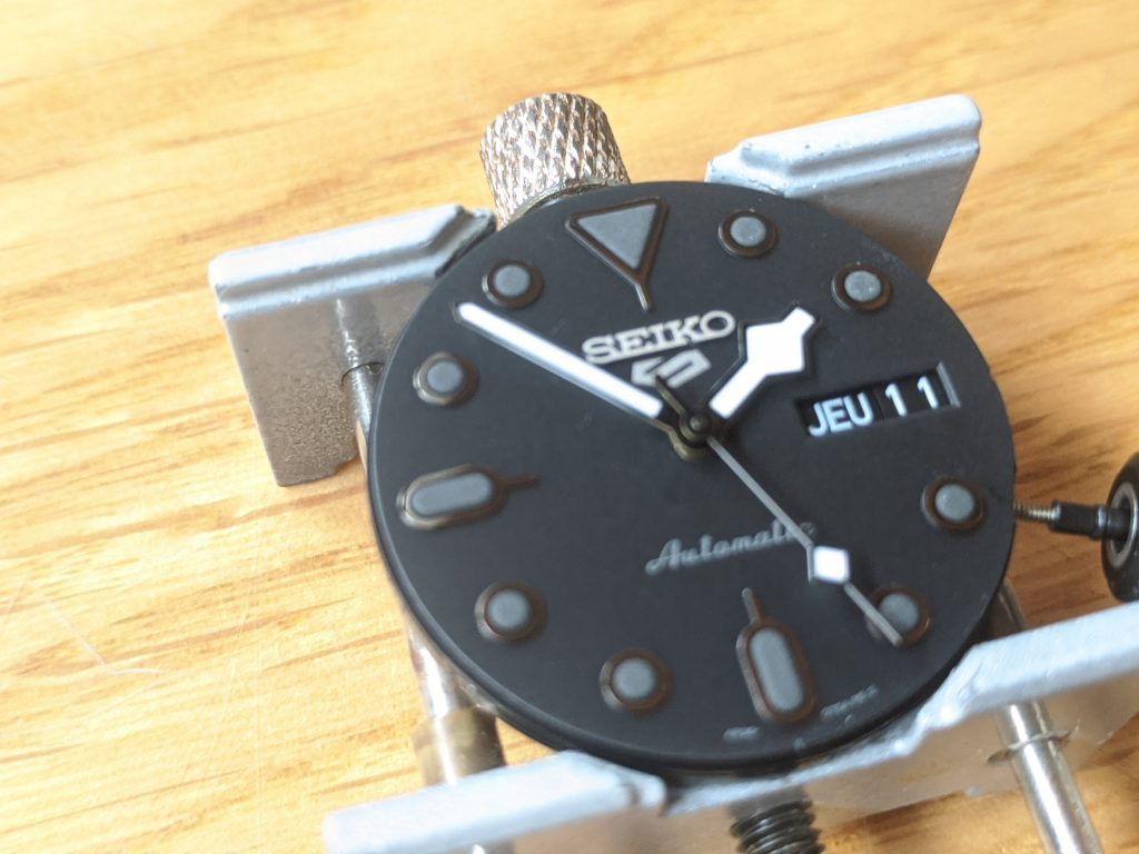 Seiko SRPD79 Movement Dial and Hands - All Held in a movement holder  - Snow Flake  Hands - Seiko Snow Flake Mod