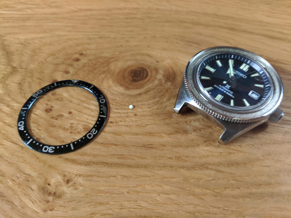 Seiko Prospex Air Diver Mod - 6R15-03W0 with original bezel insert and pearl of lume removed from the bezel