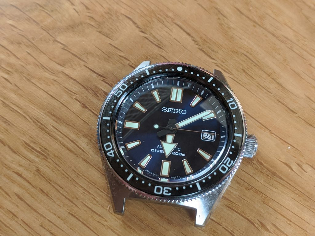 Seiko Prospex Air Diver Mod - with new lumed bezel insert installed. Seiko 6R15-03W0 Mods by wellingtime.