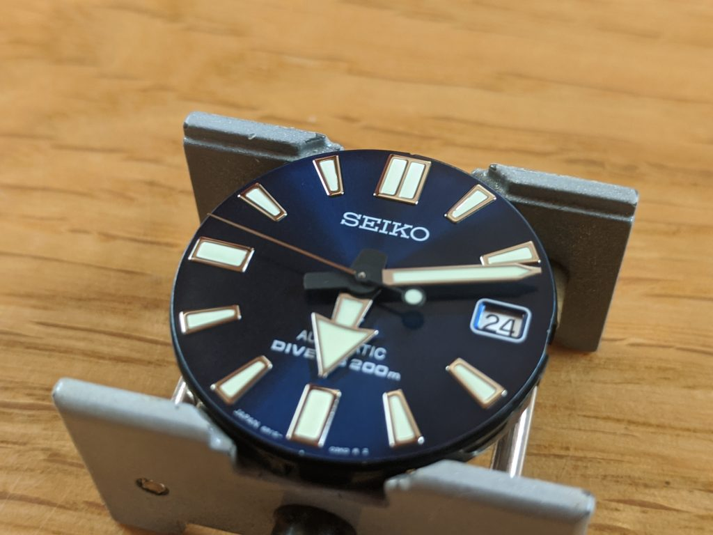 Seiko Prospex Air Diver Mod - dial removed from watch with original hands in place.