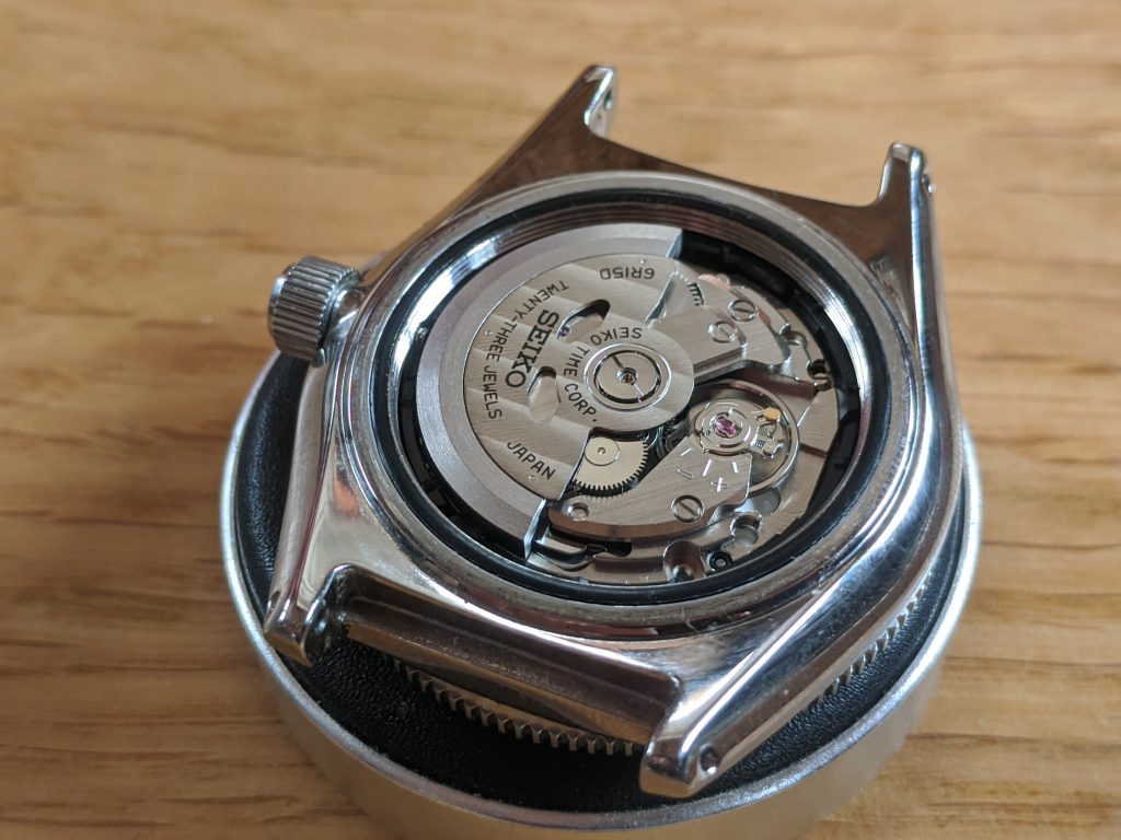 Seiko Prospex Air Diver Mod with casebook removed to expose the Seiko 6R15 movement. Seiko mods at Wellingtime uk