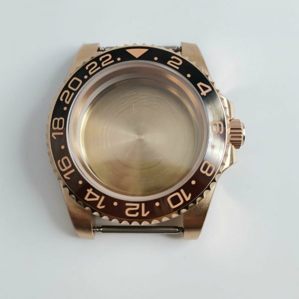 Rose Gold Sub Case with rootbeer bezel insert