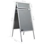 Plakatstativ med topramme A1 aluminium sølvfarvet