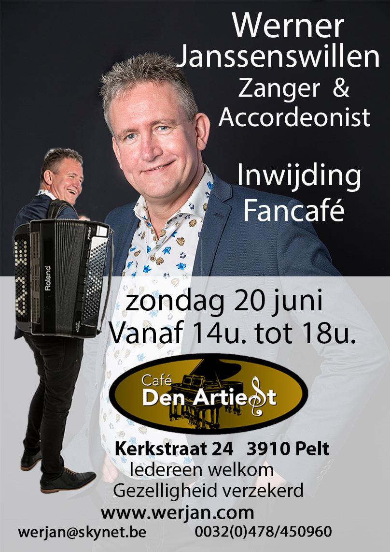 Zondag 20 Juni van 14u tot 18u Café Den Artiest, inwijding fancafé @ Café Den Artiest