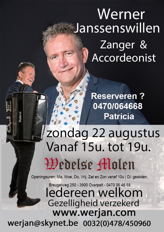 Optreden Wedelse molen van 15u tot 19u Pelt @ Wedelse Molen
