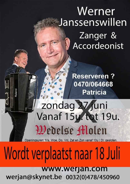 Optreden 18 juli Wedelse Molen van 15u tot 19u @ Breueglweg 250