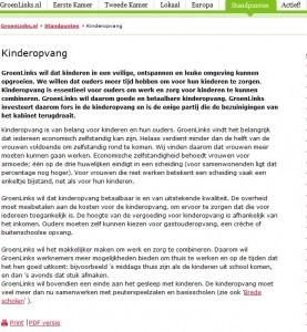 Screenshot website Groenlinks per 05-09-2013