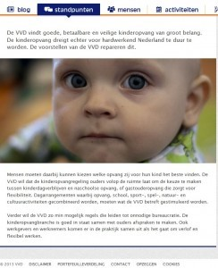 Screenshot website VVD op 4-9-2013