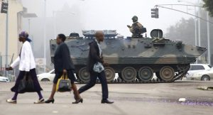 A military tank in the heart of Harare