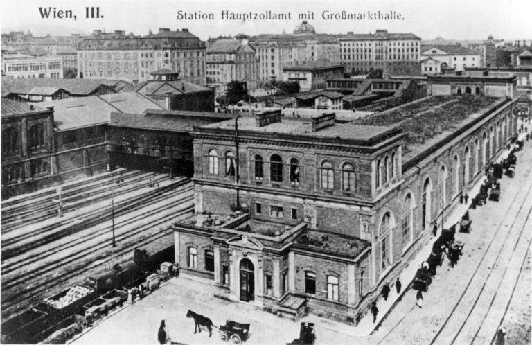 historisches Foto einer Markthalle in Wien
