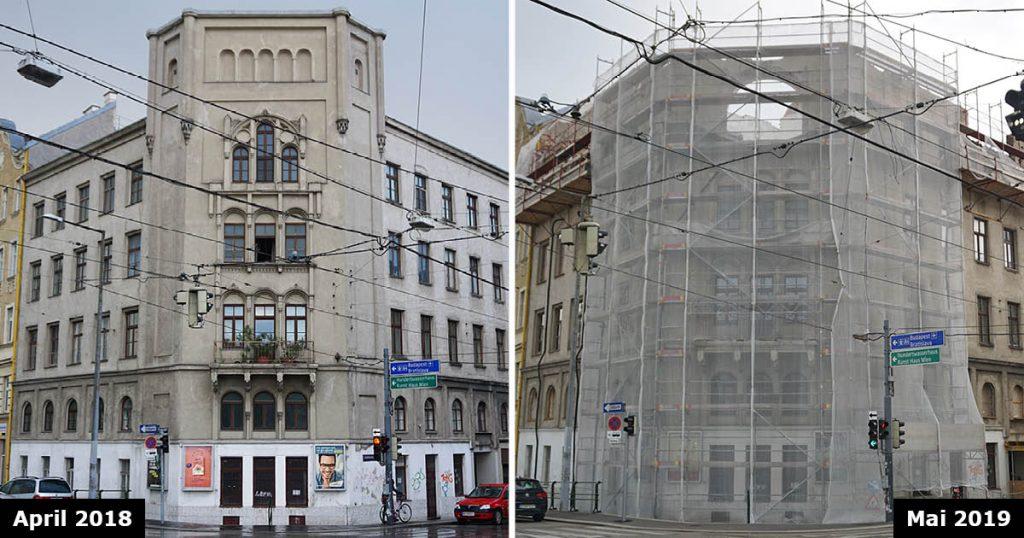 Vergleich zweier Aufnahmen des Hauses Radetzkystraße 24-26, 3. Bezirk, Wien