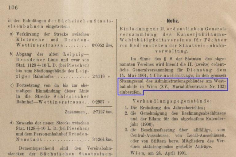 """Auschnitt aus dem """"Verordnungs- und Anzeige-Blatt der k.k. General-Direction der österr. Staatsbahnen"""", hervorgehoben ist der Text zum Gebäude Mariahilfer Straße 132"""