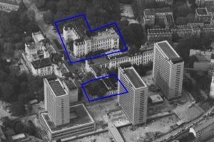 Luftaufnahme der Neuen Kliniken des Wiener AKH, Lazarettgassenweg, 1967