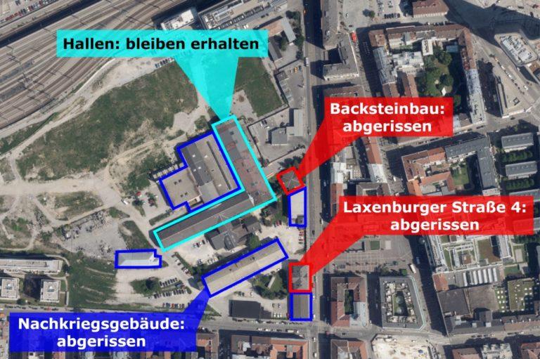 """Karte """"Neues Landgut"""", Wien-Favoriten. Abrisse eingezeichnet"""