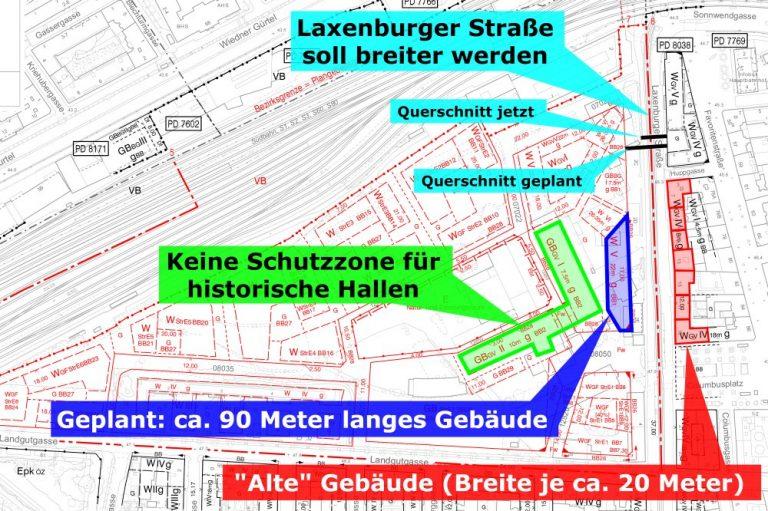 Planentwurf für das Neue Landgut in Wien-Favoriten, mit Anmerkungen