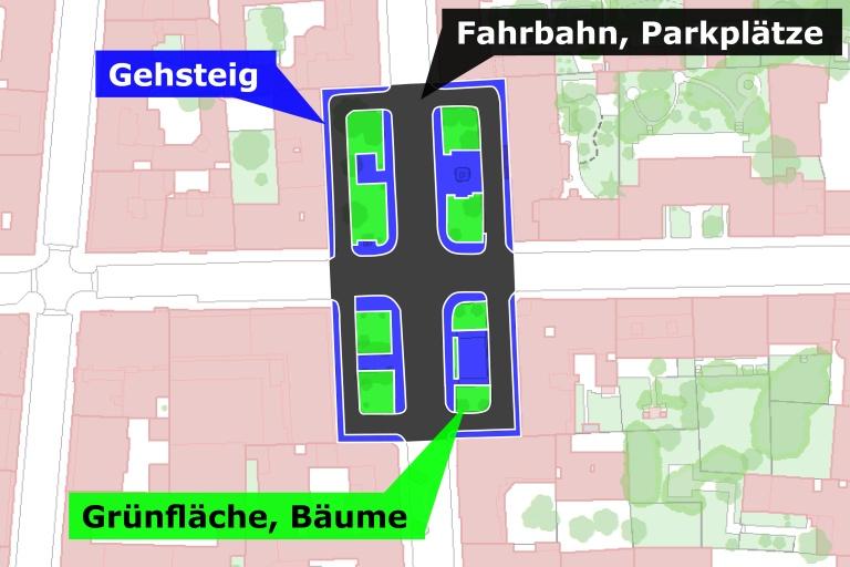 Karte mit Flächenverteilung, Albertplatz (Fahrbahn, Parkplätze, Gehsteig, Grünfläche Bäume)