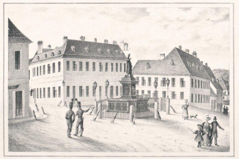 Zeichnung des Albertplatzes aus dem 19. Jahrhundert