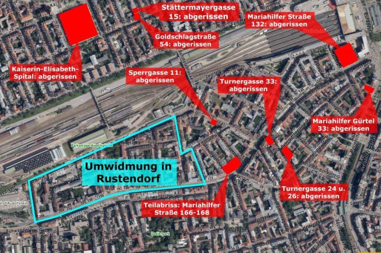Karte mit Abrissen im 15. Bezirk, Wien