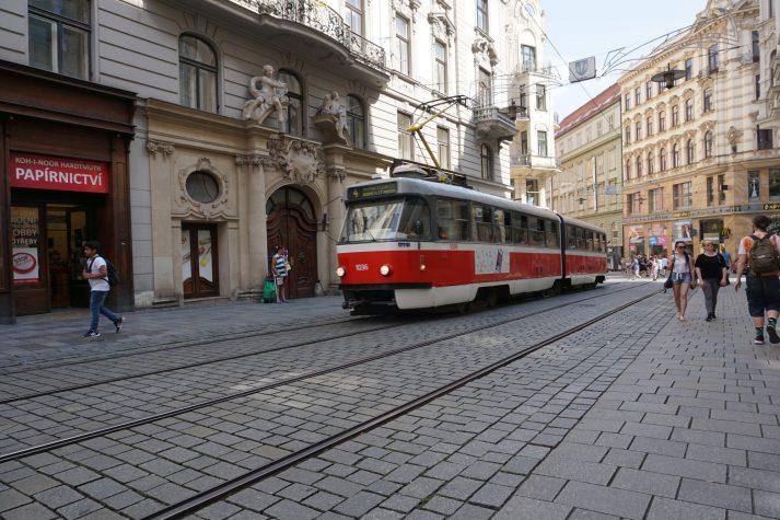 Straßenbahn im Zentrum von Brünn