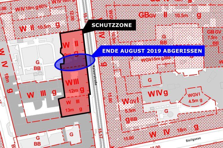 Karte mit Schutzzonen und Infos zu einem Teilabriss in der Kaiserstraße, Wien-Neubau