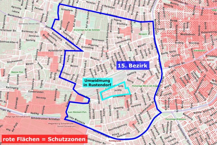 Karte mit Schutzzonen im 15. Bezirk, Wien