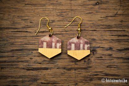 print op hout oorbellen