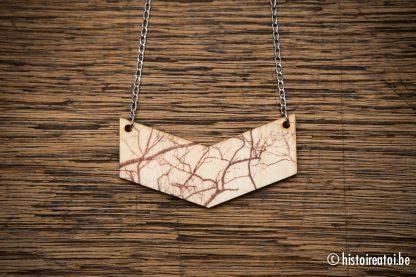 houtprint halsketting