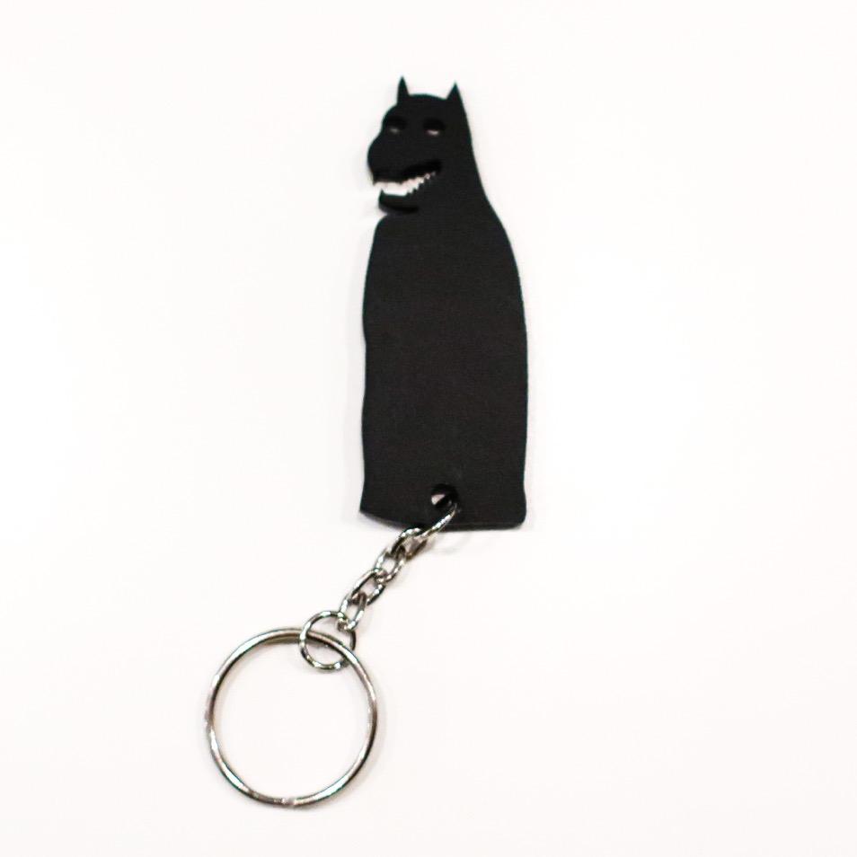 Sleutelhanger Knaptand in blakerend zwart Acryl