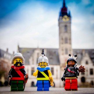Legoreuzen poseren voor hun Lakenhalle - canvas