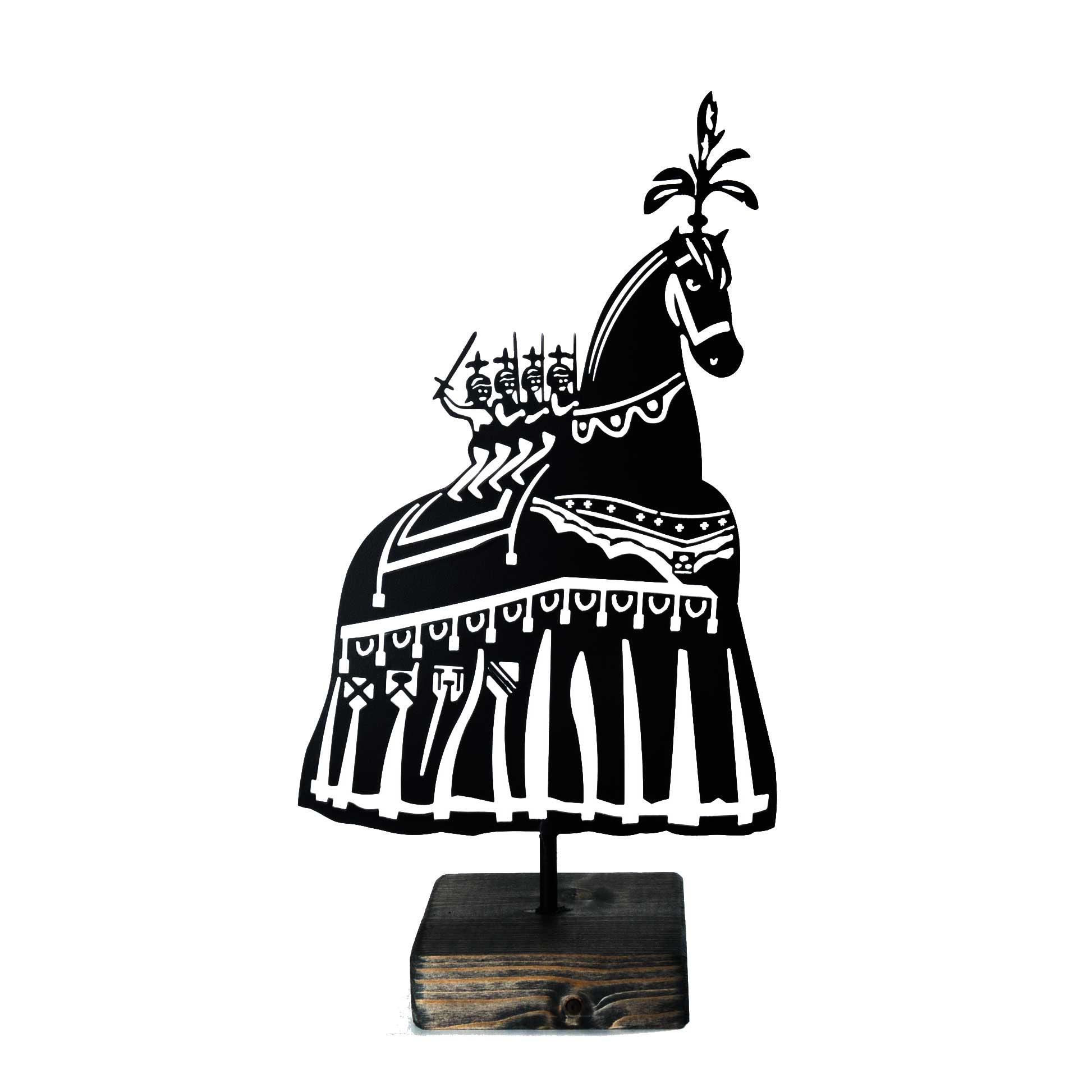 Zwart Metalen Gerokt Ros Beiaard