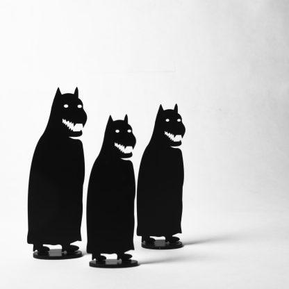 Knaptanden in zwart metaal (set van 3 stuks)