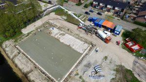 Luchtfoto bouwplaats MFA Lemmer 2 mei 2016 (beton storten)