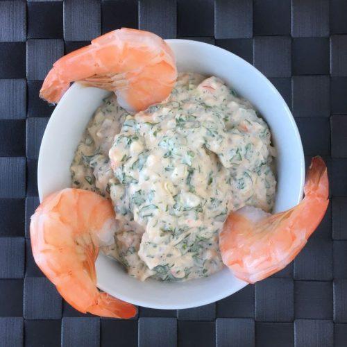 Shrimp in cocktail sauce photo: ©️Nel Brouwer-van den Bergh