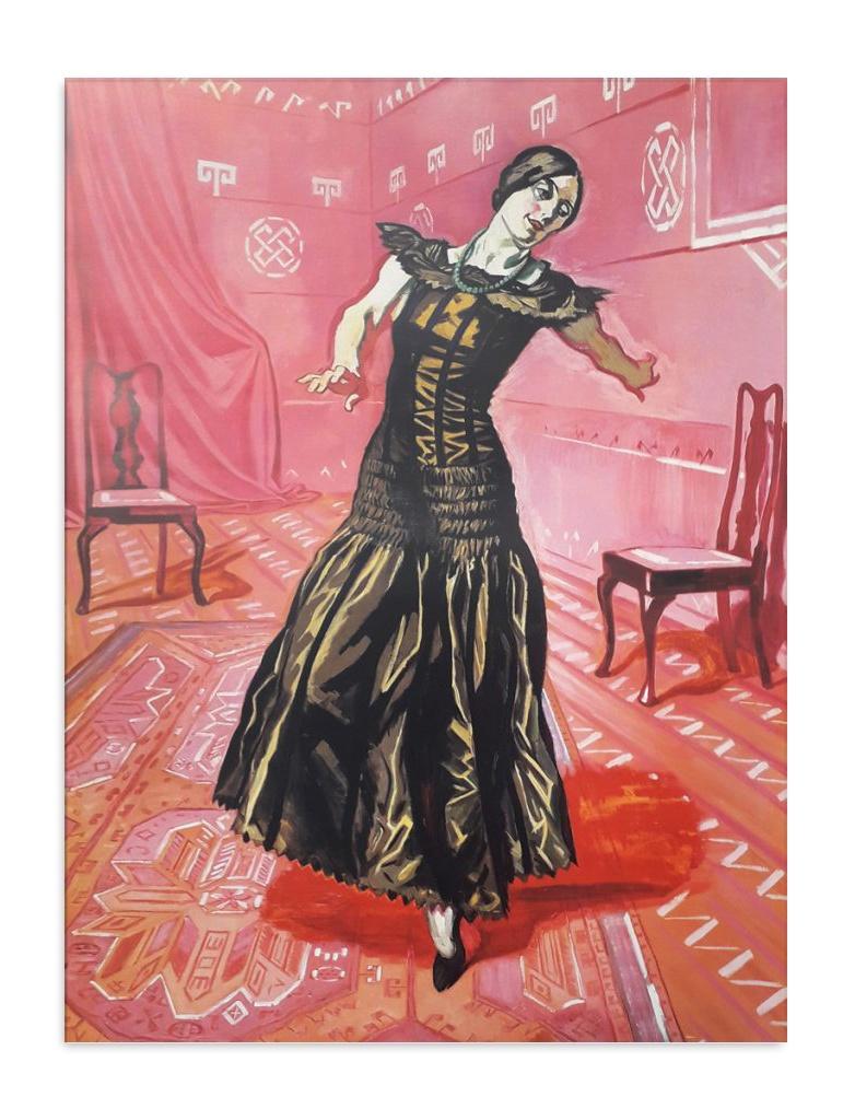 Dame leger med en sort kat Postkort Willumsens Museum