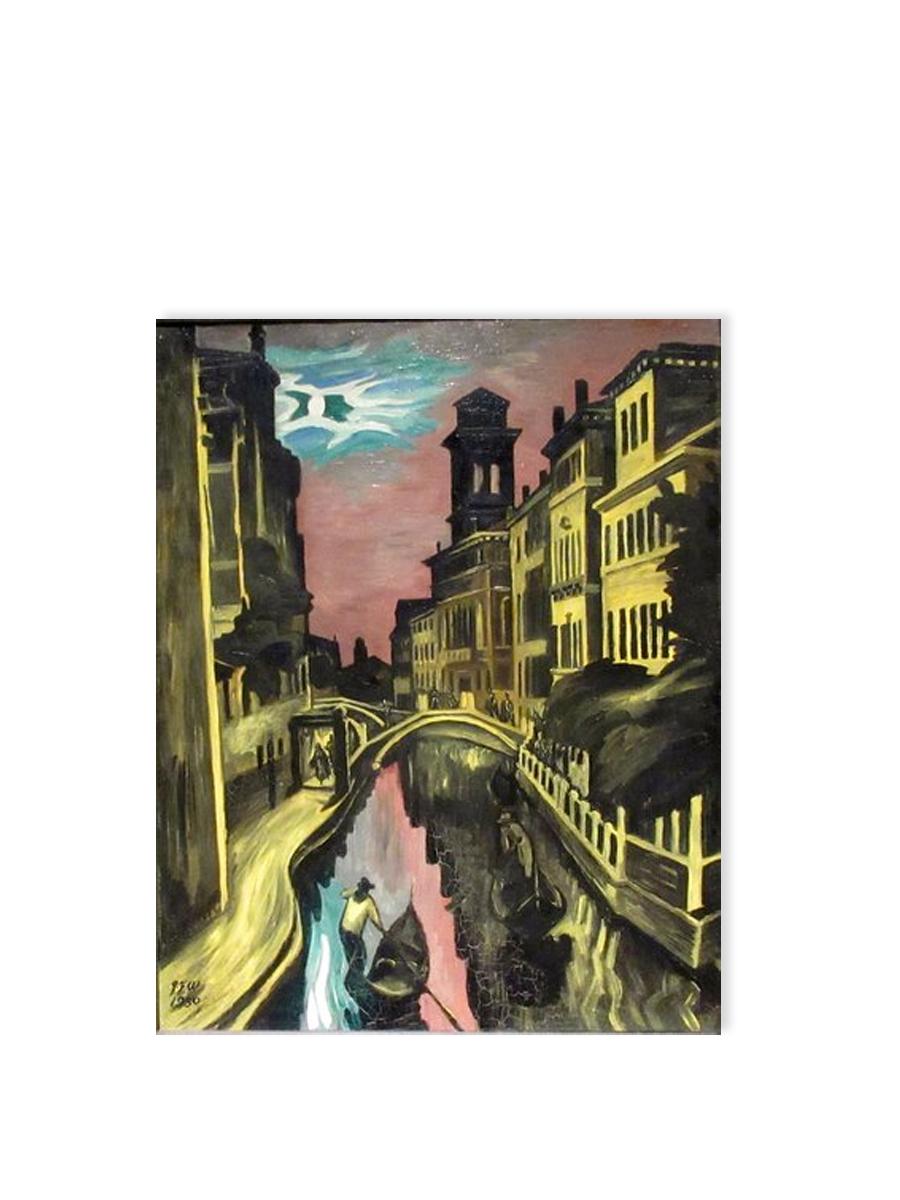 San Troverso Kanalen i Venedig Postkort Willumsens Museum