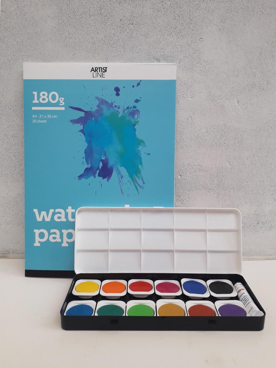 Farvelade med 12 vandfarver i klare farver