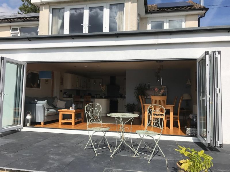 The span of bi-fold doors is 5.5m wide, which makes for an expansive opening