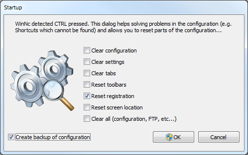 Hold CTRL key while starting WinNc to reset registration