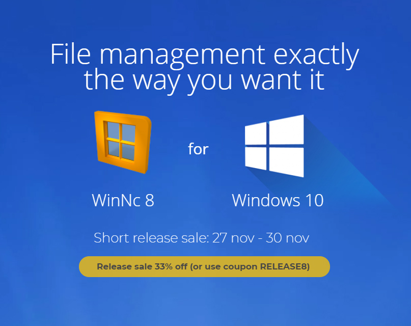 WinNc 8.0.0.0 available with 33% off release sale