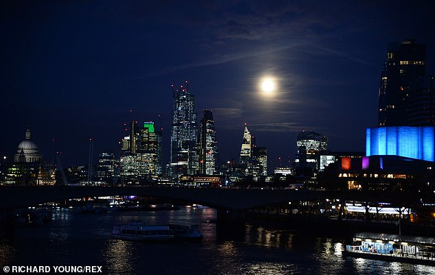 Last year's February supermoon over London.  The exact moment of 'fullness' for this February's supermoon will be at 07:33 GMT on Sunday morning, February 9